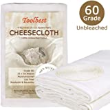 Toolbest TB-G60 Cheesecloth 100% Unbleached Fabric Cooking Twine, Washable and Reusable Cotton Strainer, Filter (Grade 60)