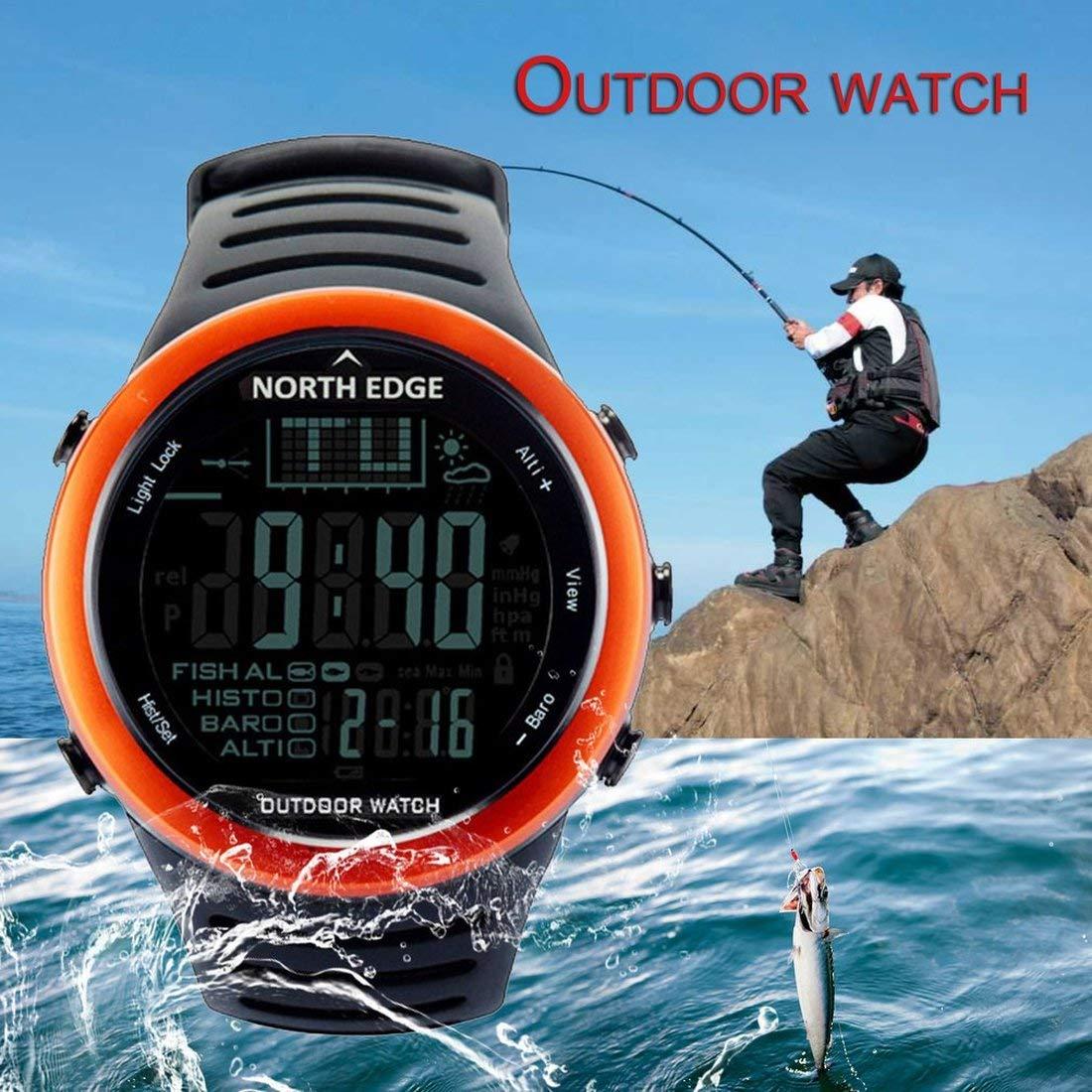 North Edge 720 Reloj de Pesca al Aire Libre termómetro barómetro del termómetro Hombres Deportes Digitales Inteligentes Reloj para Escalar Senderismo: ...