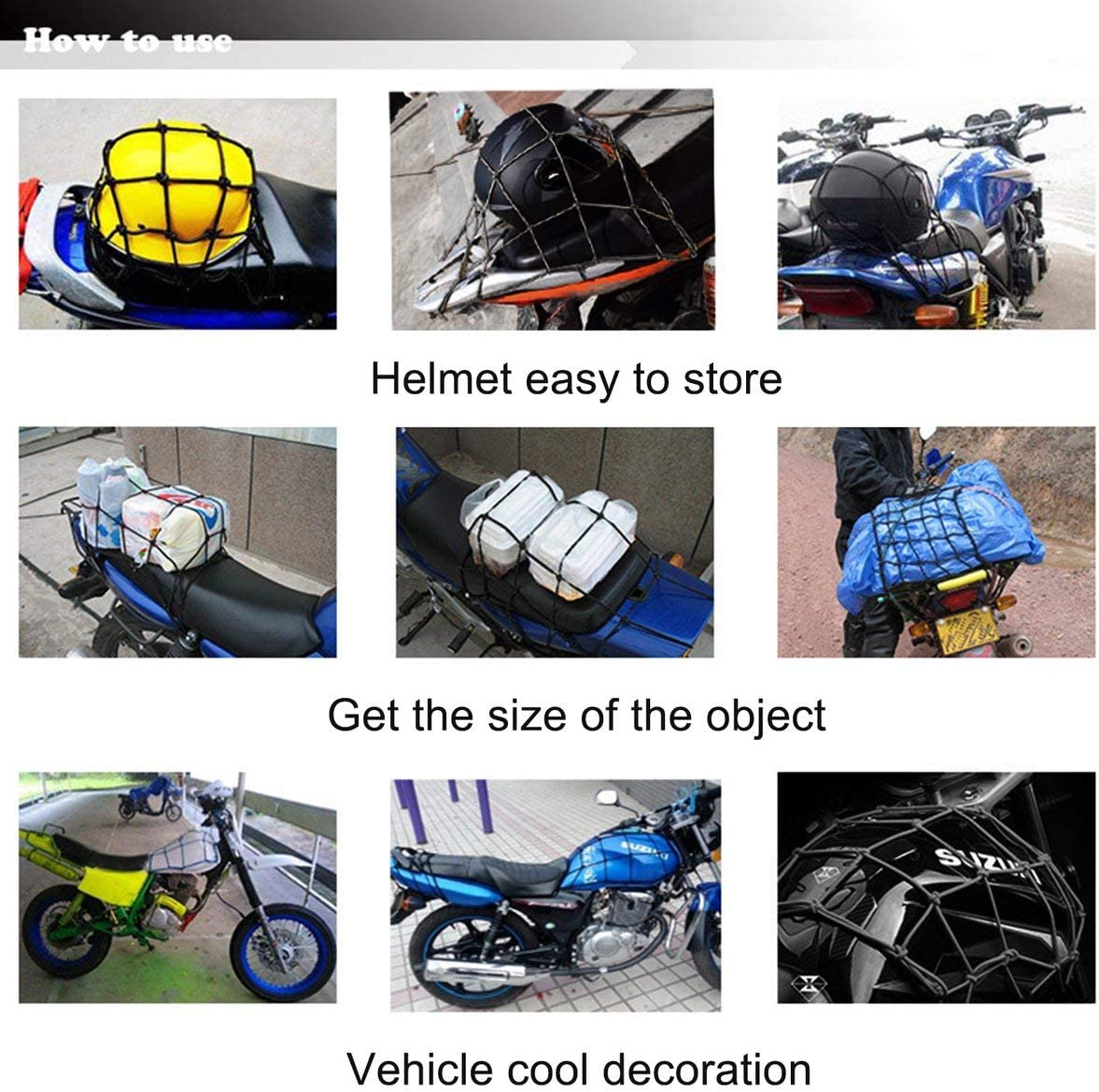 25x25 cm Motorcycle Bicycle Cargo Net Luggage Rope Rubber Mesh Fixed Helmet Sundries Elastic Net Strong Elasticity Black