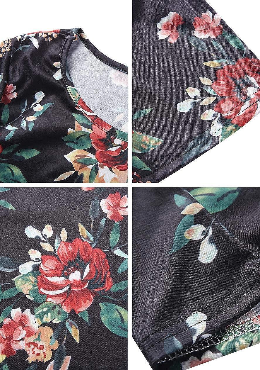 OMZIN Abito Donna Vestito Maniche Corte Rotondo Collo Sciolto Casual Estivi Maglietta Camicetta Allentata Abiti XXS-5XL