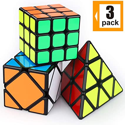 10ba576b8615 AROIC Puzzle Toy Speed Cube Set, 3x3×3, Pyramid and Skew Speed Smooth  Puzzle Cube for Kids and Adults(3 Pack)