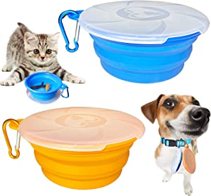 Collapsible Dog Bowl for Travel, 2 Pack Cat Food Bowls Dog Water Bowls with Lids, Portable Collapsable Pet Feeding Cup Dish for Walking Camping Kennels (450ML,15OZ)