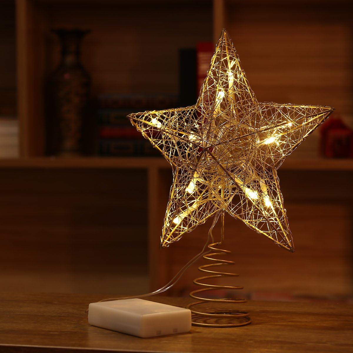 NICEXMAS 9.8 Zoll Goldener Stern-Baum-Deckel mit LED-Lichtern f/ür Weihnachtsbaum-Dekoration