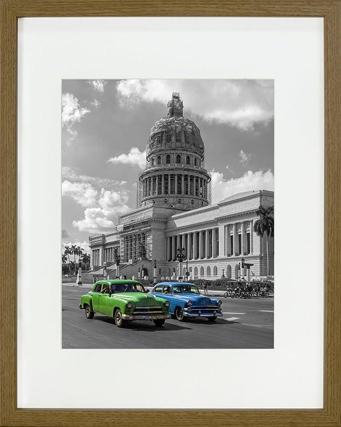 Amazon.de: 28 x 35 cm Bilderrahmen mit Passepartout 20 x 25 cm, Eiche