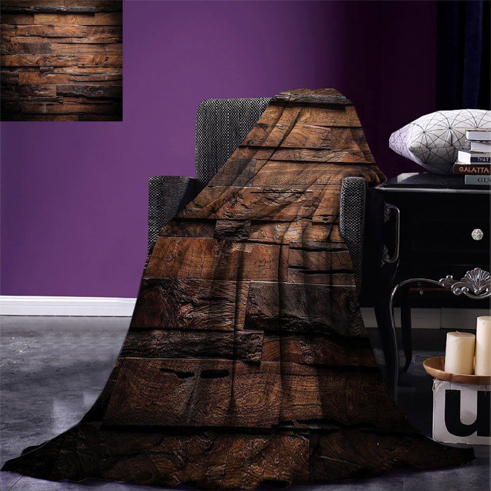 smallbeefly Chocolate Digital Printing Blanket Rough Dark Timber Texture Image Rustic Country Theme Hardwood Carpentry Summer Quilt Comforter Brown Dark Brown by smallbeefly (Image #1)