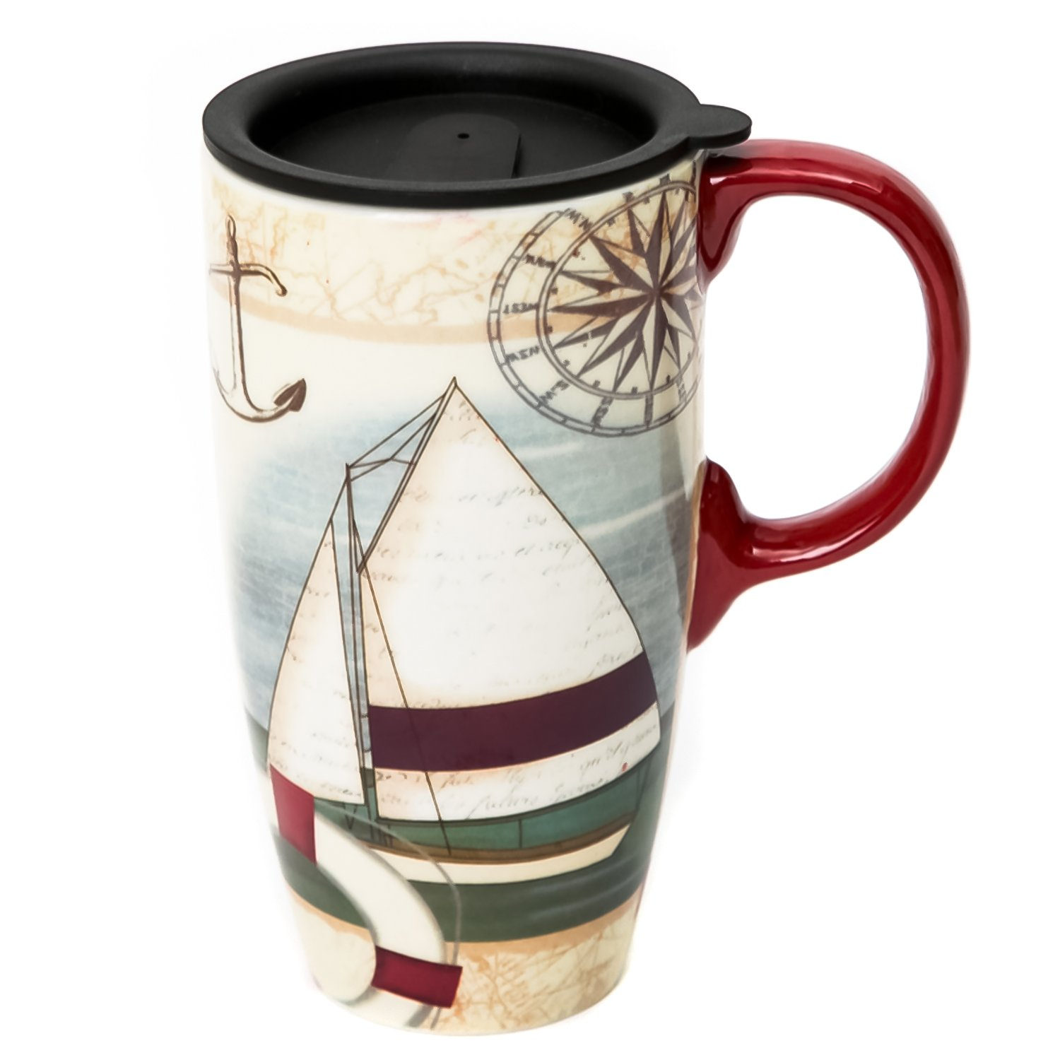 CEDAR HOME Travel Coffee Ceramic Mug Porcelain Latte Tea Cup With Lid in Gift Box 17oz. Sailboat