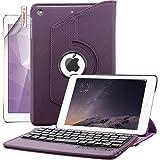 iPad Mini Keyboard Case, Boriyuan Detachable Wireless Bluetooth Keyboard PU Leather Cover with 360 Degree Rotating Stand and Screen Protector + Stylus for Apple iPad Mini 1/Mini 2/Mini 3, Purple