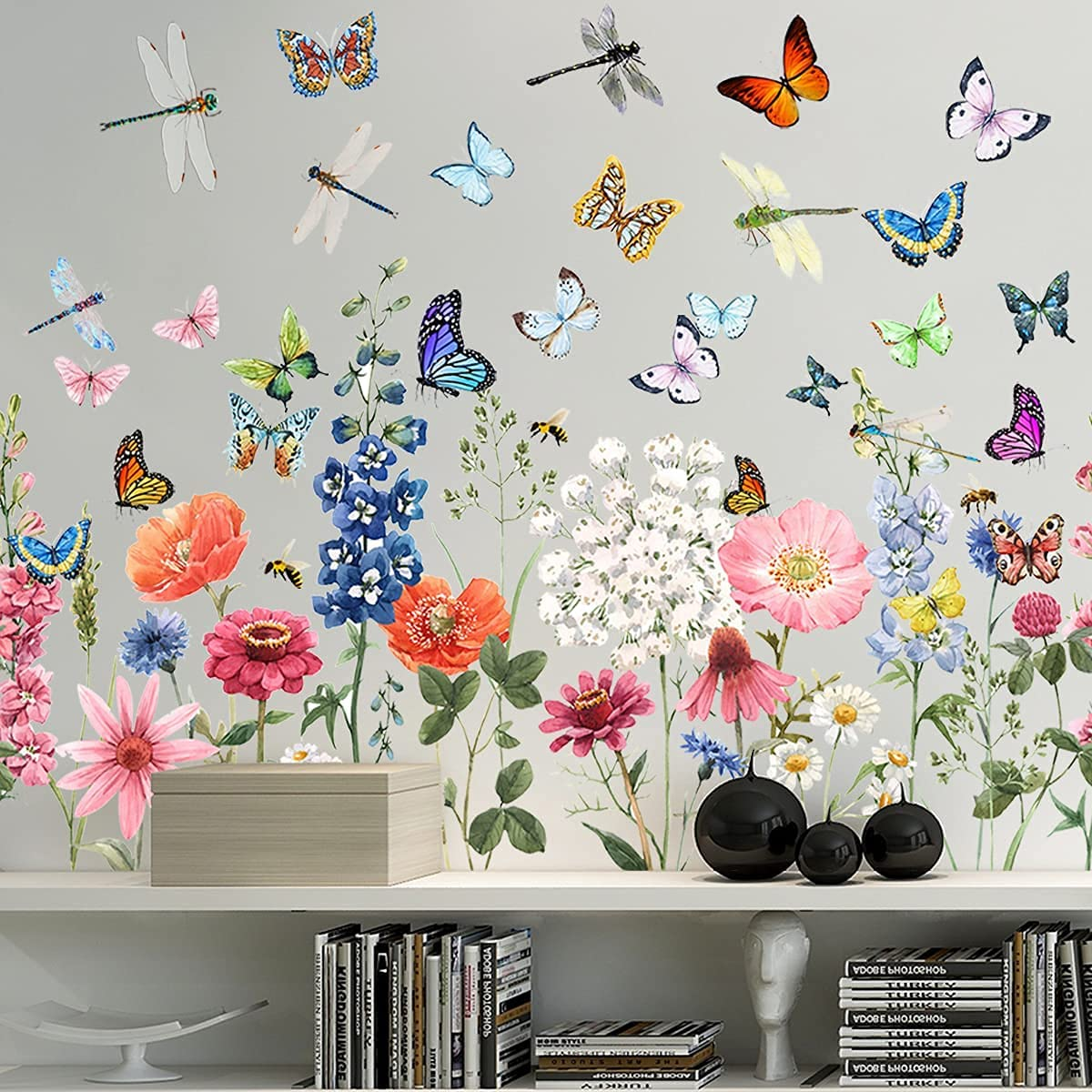 Colorful Flowers Wall Decal Garden Butterflies Dragonflies Vinyl Wall Decals Stickers Removable Peel and Stick for Kids Room Nursery Classroom Bedroom Decoration