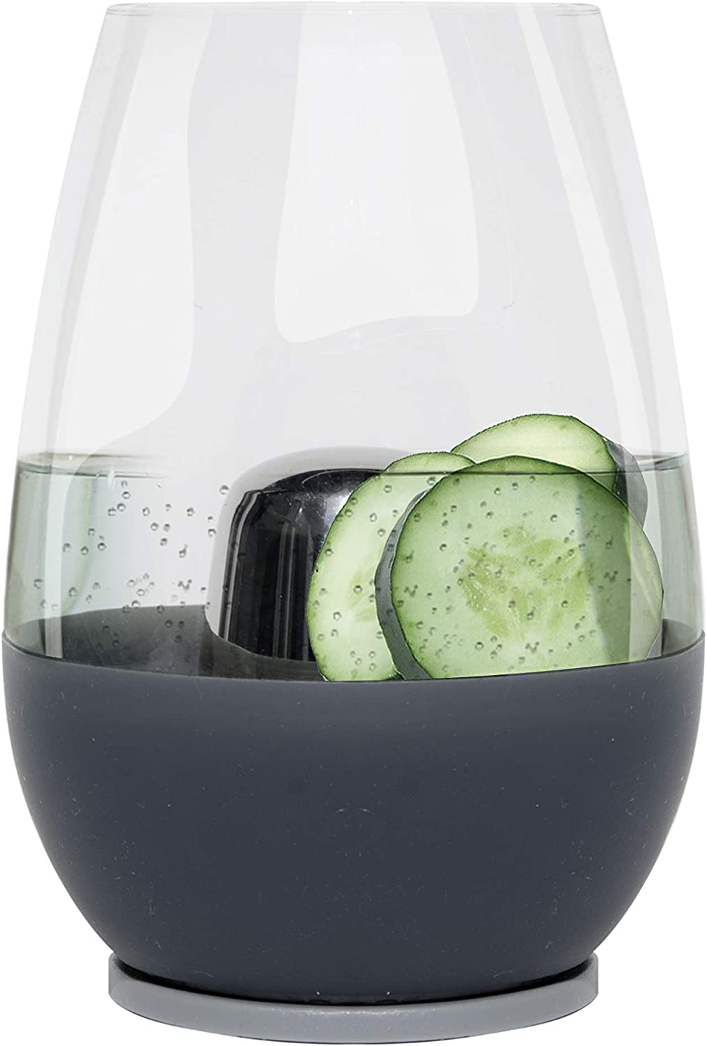 Soireehome Dimple Stemless, Set of 1 Glass and Chilling Cone, 150% More Cooling Capacity