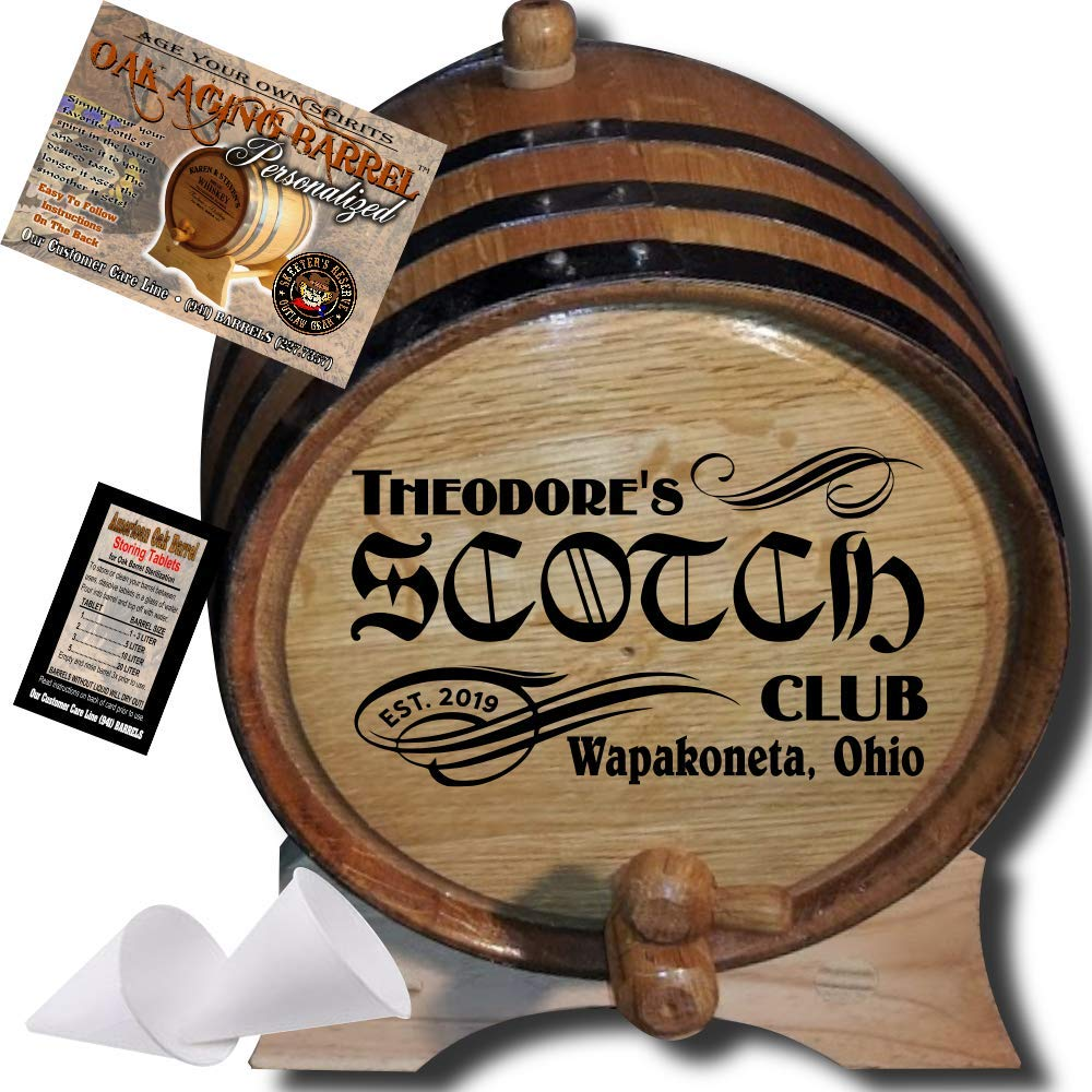 Personalized American Oak Scotch Aging Barrel (201) - Custom Engraved Barrel From Skeeter's Reserve Outlaw Gear - MADE BY American Oak Barrel - (Natural Oak, Black Hoops, 1 Liter)