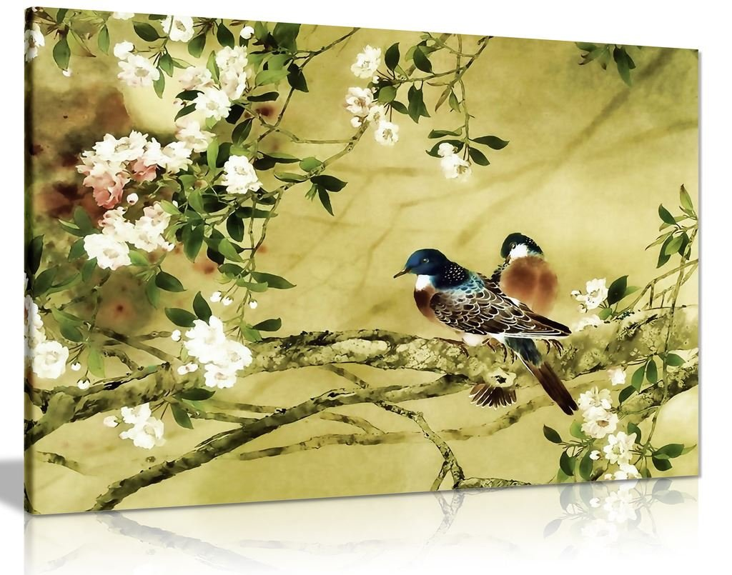 Amazon.com: Oriental Canvas Art Birds Plum Blossom Canvas Wall Art ...