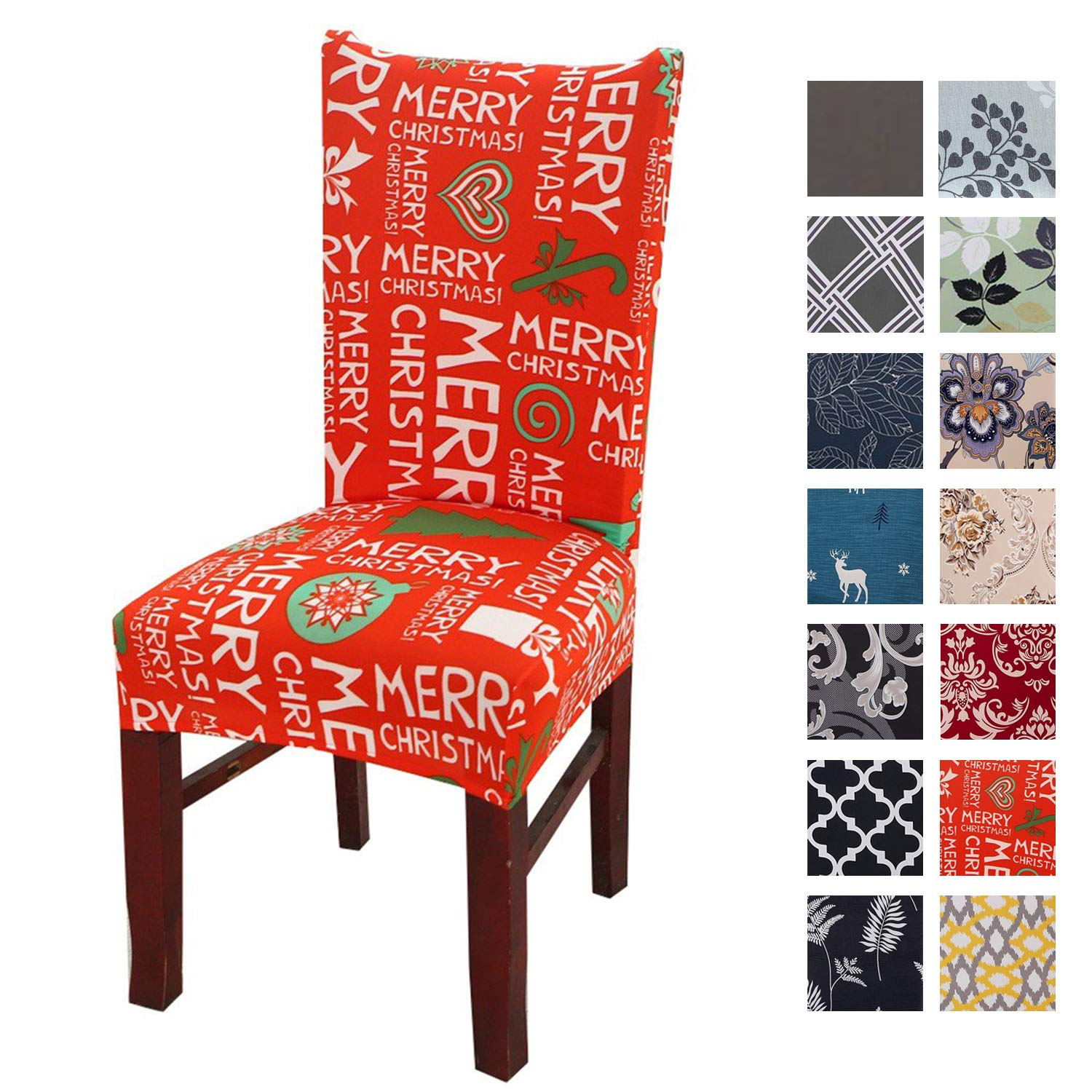 Printed Dining Chair Slipcovers, Removable Washable Soft Spandex Stretch Chair Covers Banquet Chair Seat Protector Slipcover for Kitchen Home Hotel (Set of 4, Christmas Pattern)