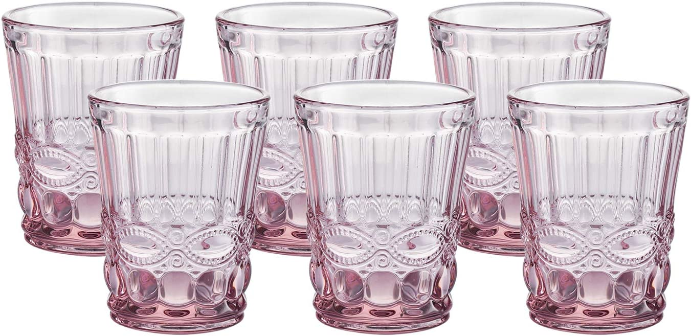 Colored Water Glasses Vintage-inspired Pattern 7.5 Ounce Wedding Glasses set of 6-Solid Glass Color(Pink)