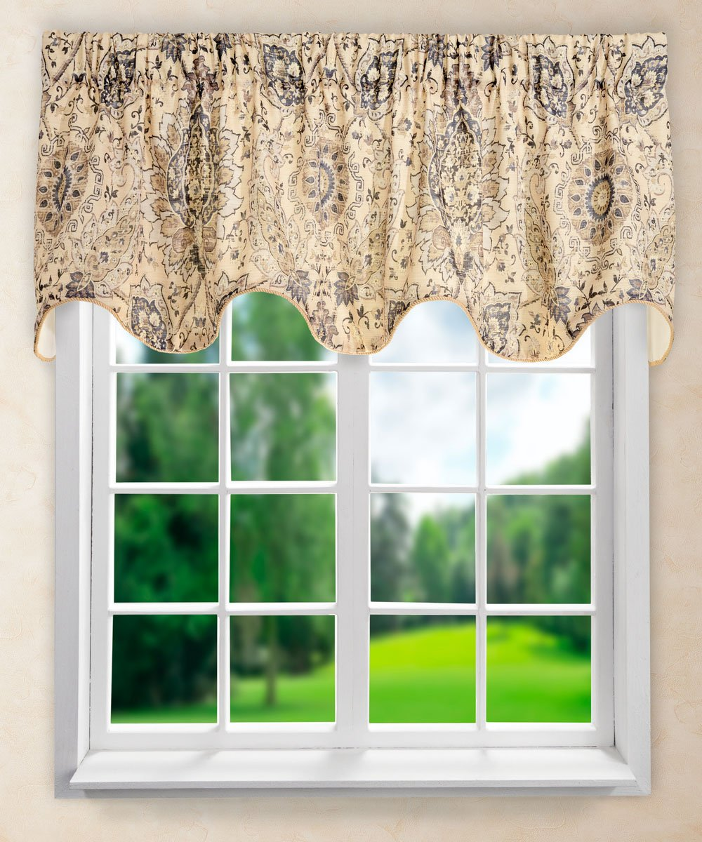 "Ellis Curtain Cadogen Lined Scallop Valance, 70 x 17"", Grey"