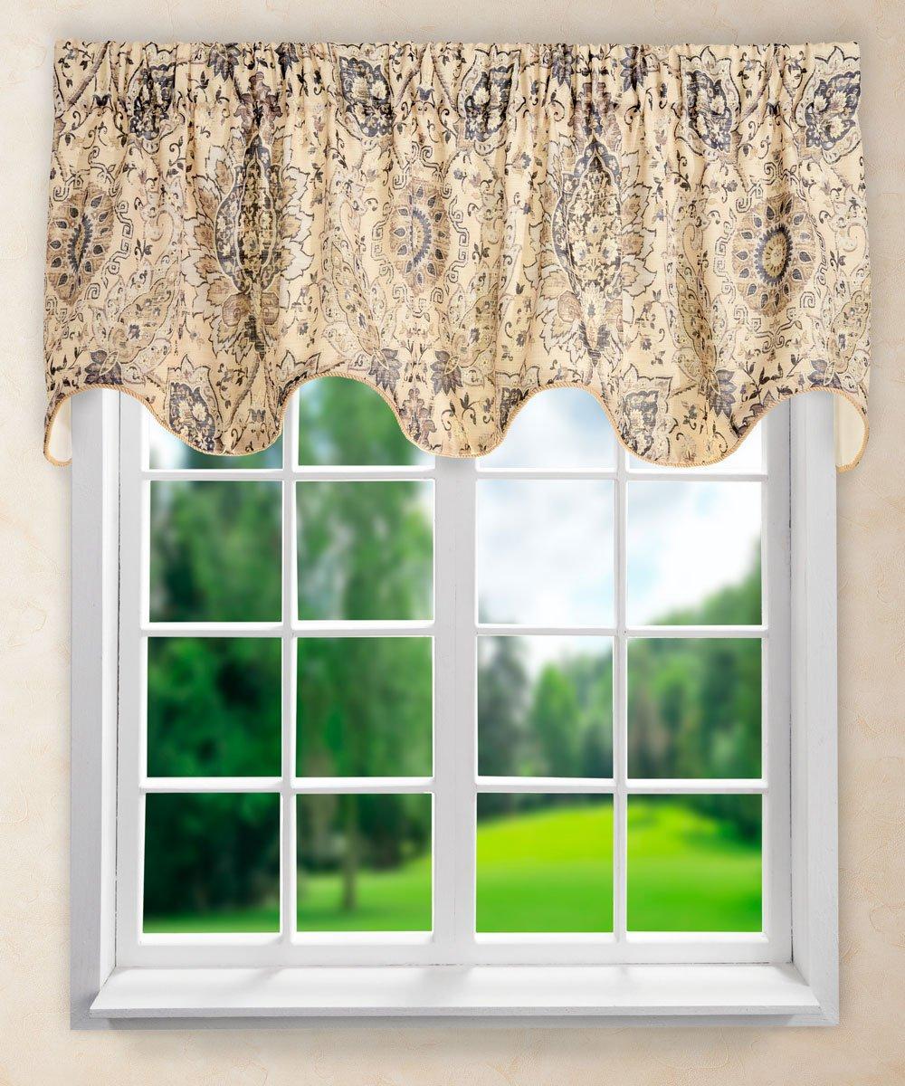 "Ellis Curtain Cadogen Lined Scallop Valance, 70 x 17"", Grey"