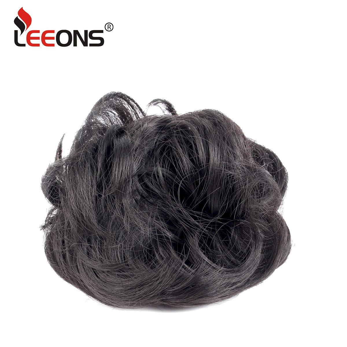 Leeons Wavy Donut Updo Ribbon Ponytail Hair Extensions Curly Messy Bun Dish Scrunchy Scrunchie Hairpiece Wave Bun Scrunchie Synthetic Hair Bun (#2) by LEEONS (Image #2)