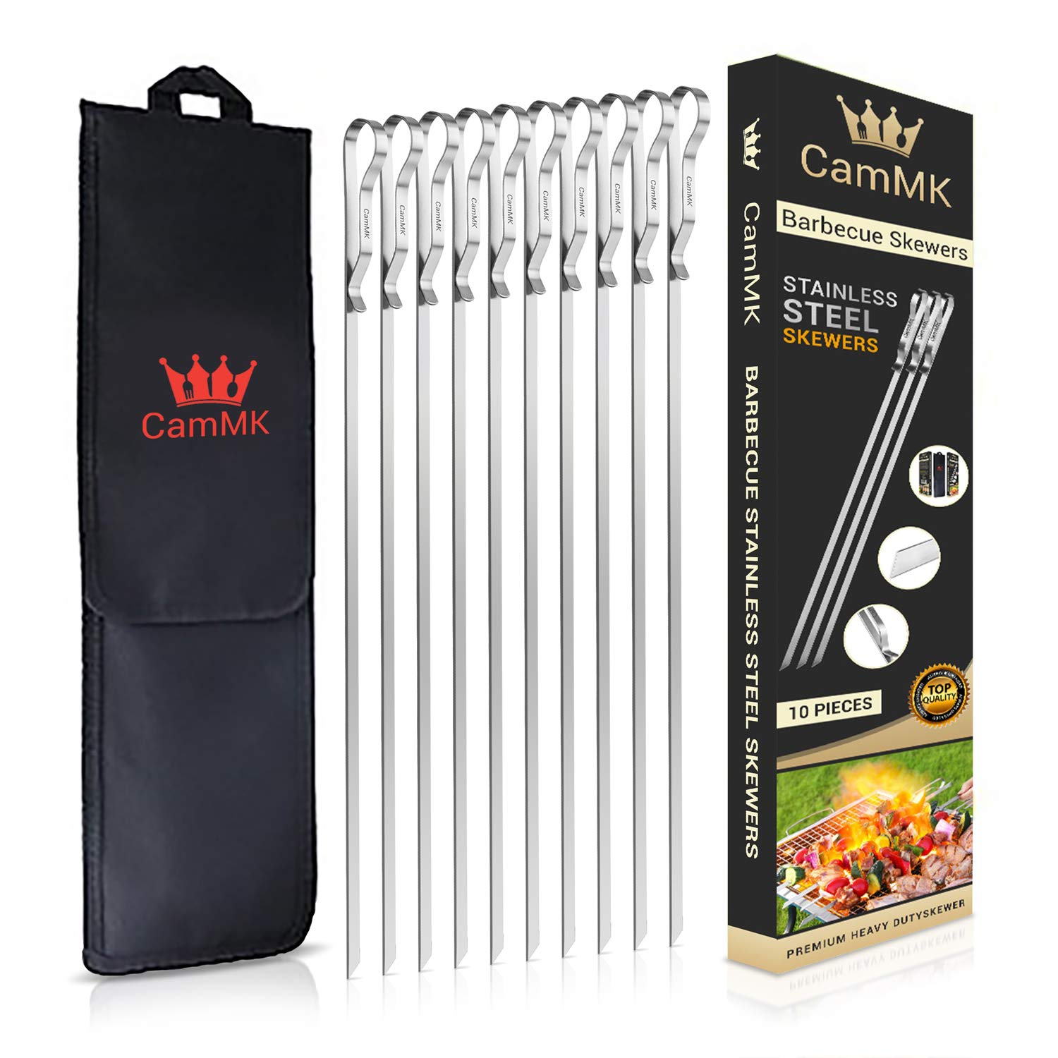 CamMK, Stainless Steel, BBQ Barbecue Kabob Skewers (17inches), Reusable, Ergonomic Handle Design, Perfect Flat Metal BBQ Grilling Skewers Set (10 Pieces + 1x Handy) by CamMK