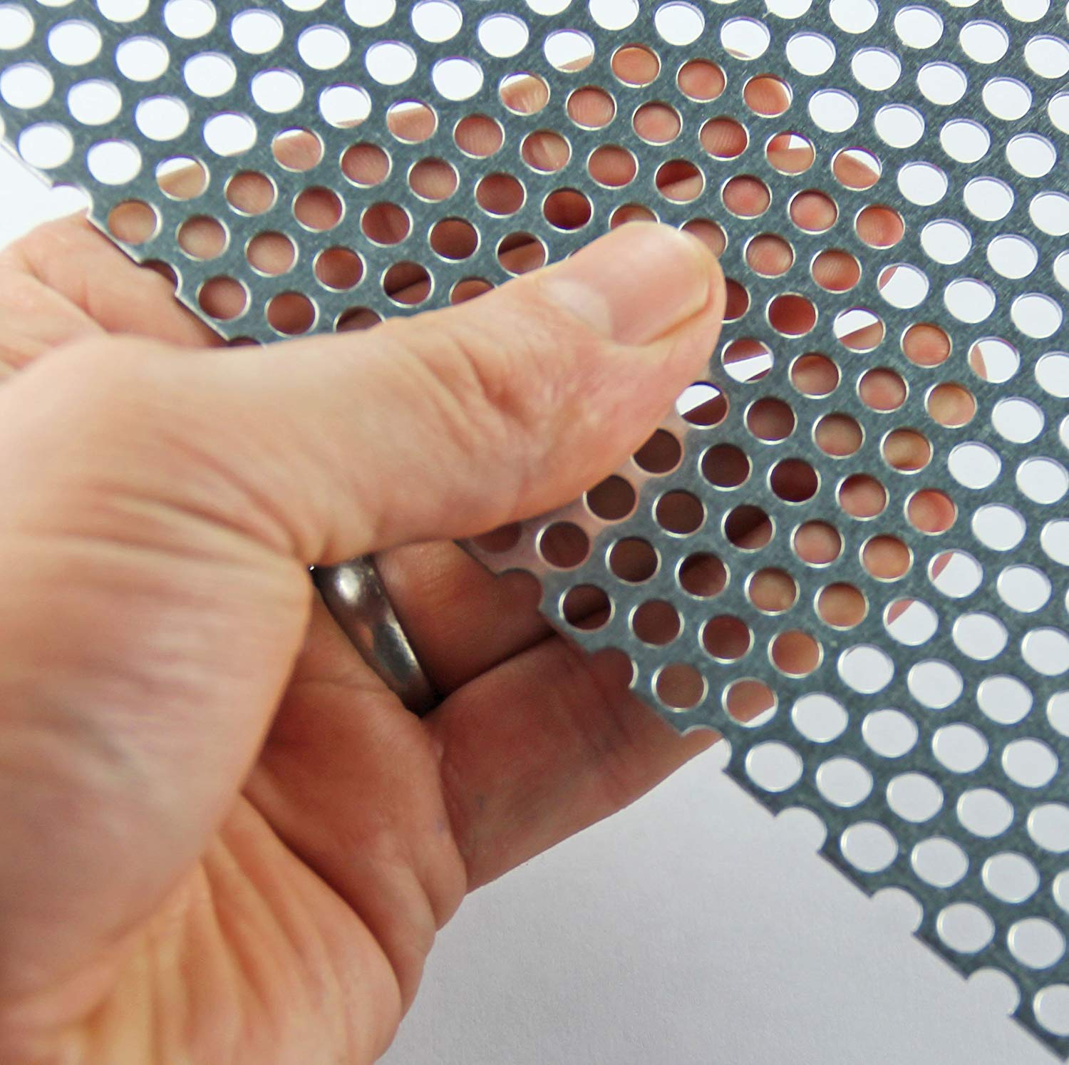 5mm Mild Steel Perforated Sheet (5mm Hole x 8mm Pitch x 1mm Thick) - A3 x 3 The Mesh Company