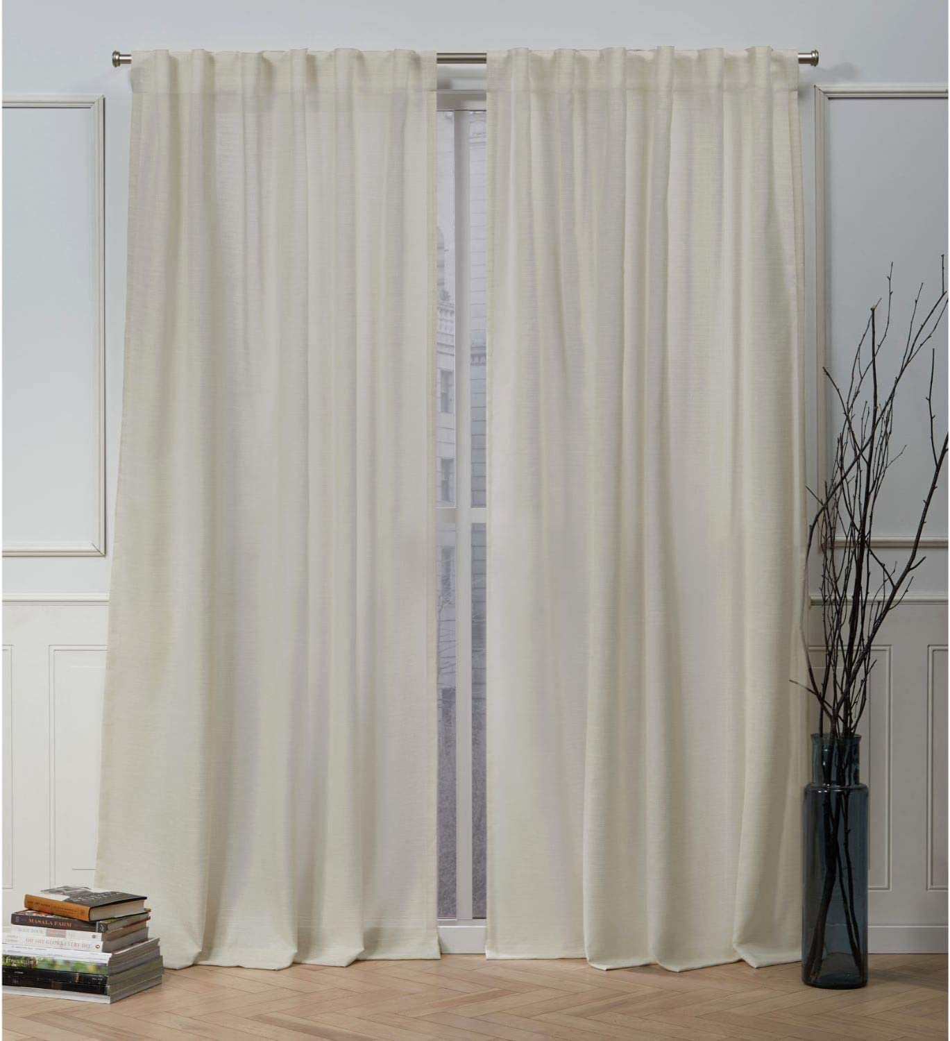 Nicole Miller Faux Linen Slub Hidden Tab Top Curtain Panel, Linen, 54x96, 2 Piece