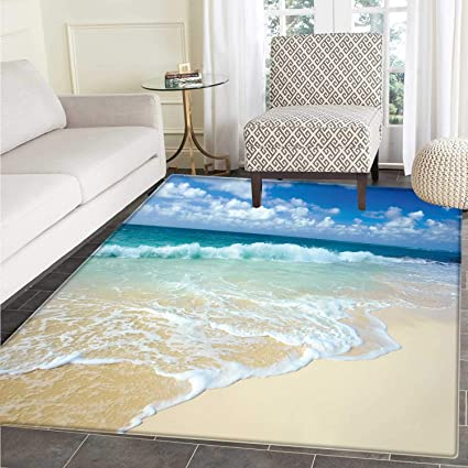 323384d75 Wave Floor Mat Pattern Beach with Foamy Waves on Empty Sea Shore Holiday  Theme Serene Coastal