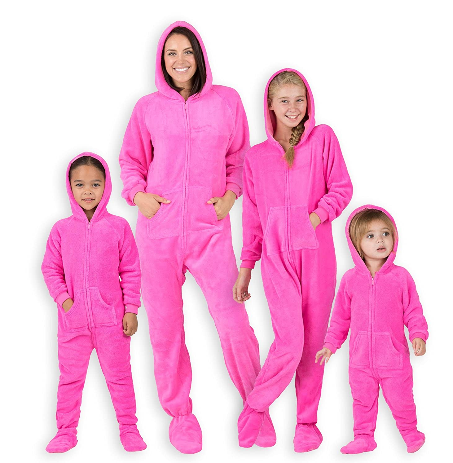 fa16b5af22 Amazon.com  Footed Pajamas - Family Matching Neon Pink Hoodie Onesies for  Boys