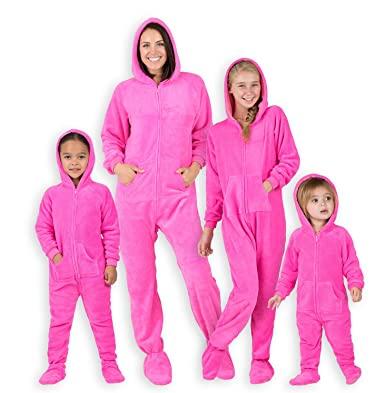 fbd79ff5f01f Amazon.com  Footed Pajamas - Family Matching Neon Pink Hoodie ...
