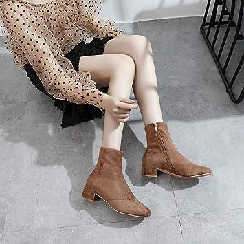 LXJL Stivali con Tacco Spesso a Punta Quadrata da Donna