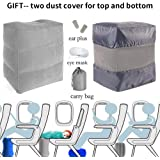 HAOBAIMEI Travel/Airplane Pillow for Leg/Foot Rest, Inflatable Multi-function for kids to Lay Down or Sleep on Long Flights,Suitable for Airplanes, Cars, Buses, Trains, Office, Home, Camping (Grey)