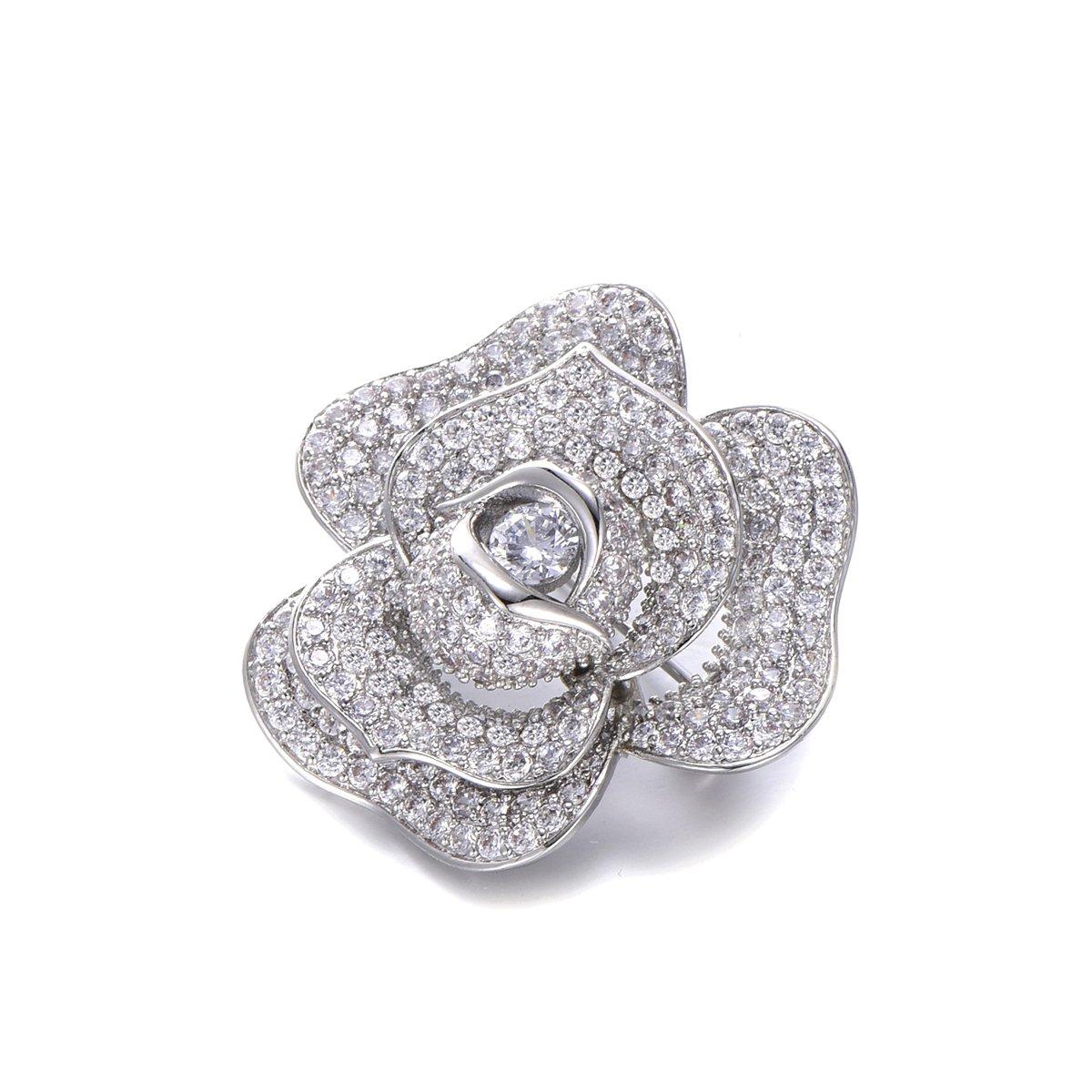 Flower Brooch Pins for Women,Dazzling Rhinestone Brooch for Brides Copper Vintage Crystal Brooch Girls CZ Brooch for Wedding,Party (Silver Plated Flower Brooch) by YOYOMA (Image #4)