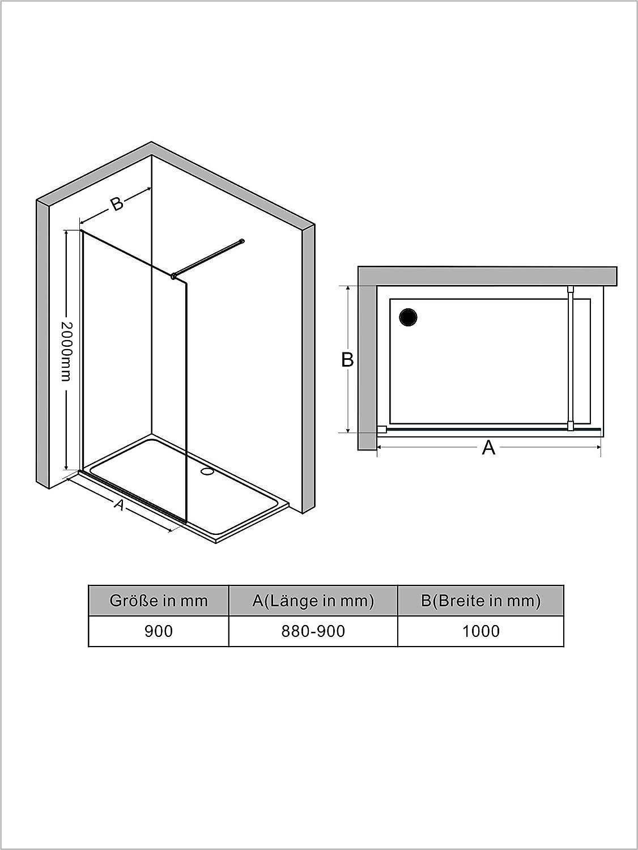 80cm Walk In Dusche 8mm Duschwand Glas Duschabtrennung Duschtrennwand Glastrennwand Glaswand mit NANO-Beschichtung H/öhe 200cm