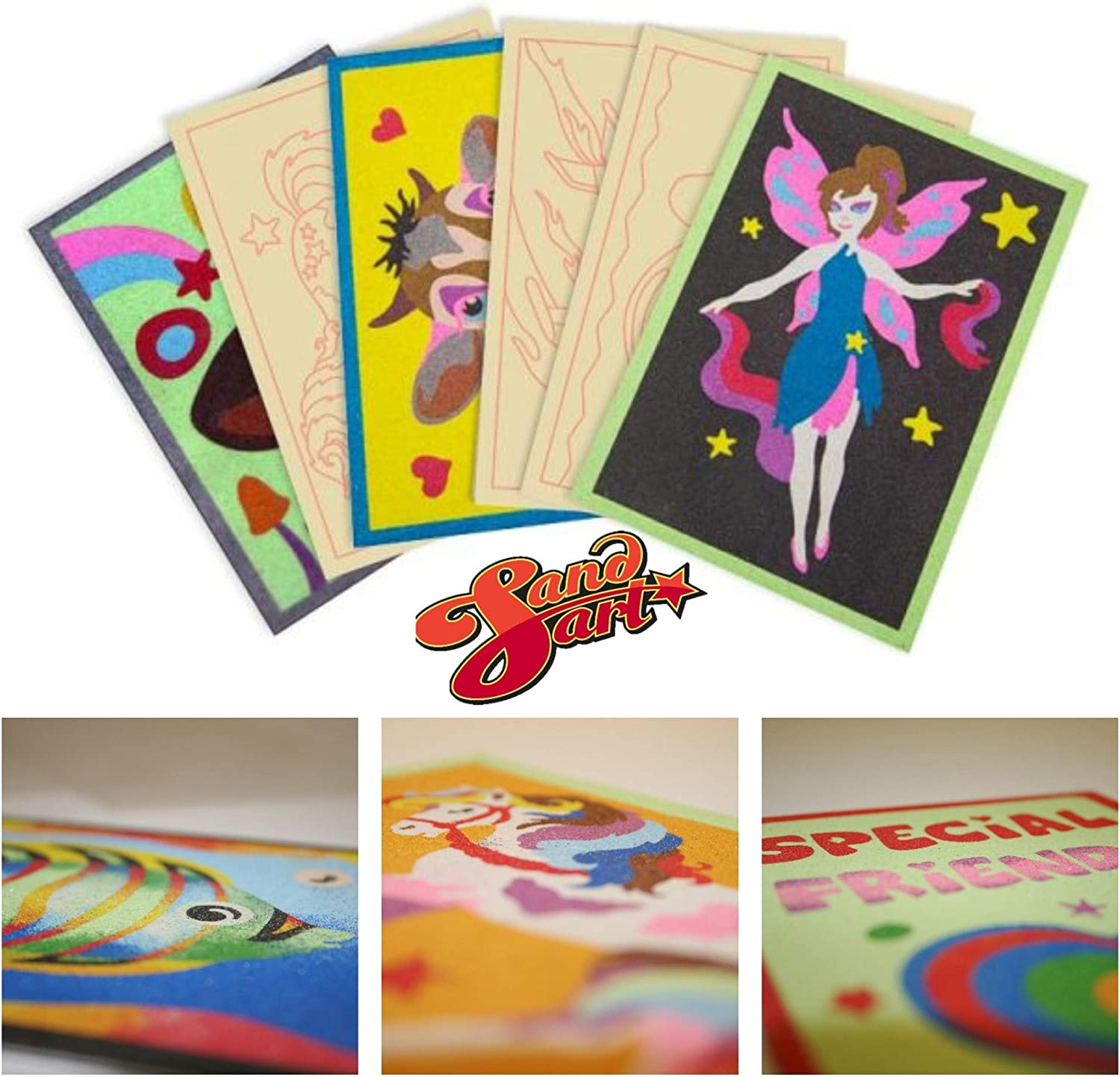 Girls Sand Art Pictures kids activity Decorate and create 6 Quality Picture cards Additional Picture cards for our Sand Art Kits Arts and Crafts for kids
