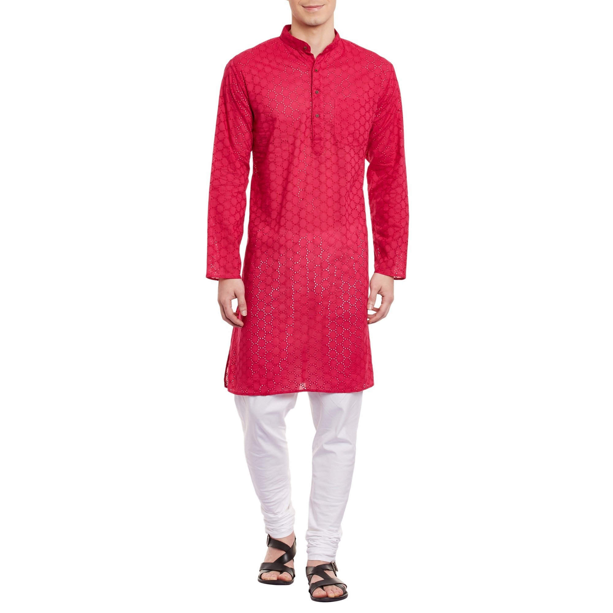 ShalinIndia Mens Embroidered Cutwork Cotton Kurta With Churidar Pajama Trousers Machine Embroidery,Pink Chest Size: 38 Inch