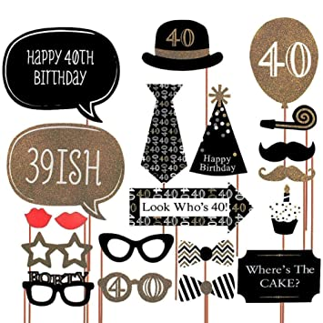 Meowoo Foto Props 40th Cumpleaños Bigote Funny Party Kit de Decoración Suministros Photo Booth Props (21pcs 40th)