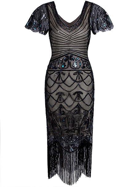 Amazon.com: Vijiv Vestido de mujer de los años 20 con mangas ...