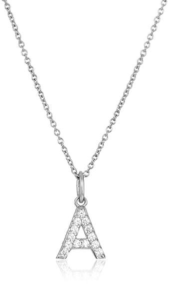 1f7ef11e64ab Platinum Plated Sterling Silver  quot A quot  Initial Pendant Necklace set  with Swarovski Zirconia (