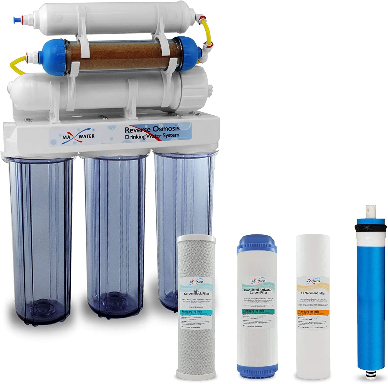 Max Water 6 Stage Aquarium Reverse Osmosis System/Reverse Osmosis System/RO Water Filtration System RO Water Purifier 100 GPD Hydroponics RODI System