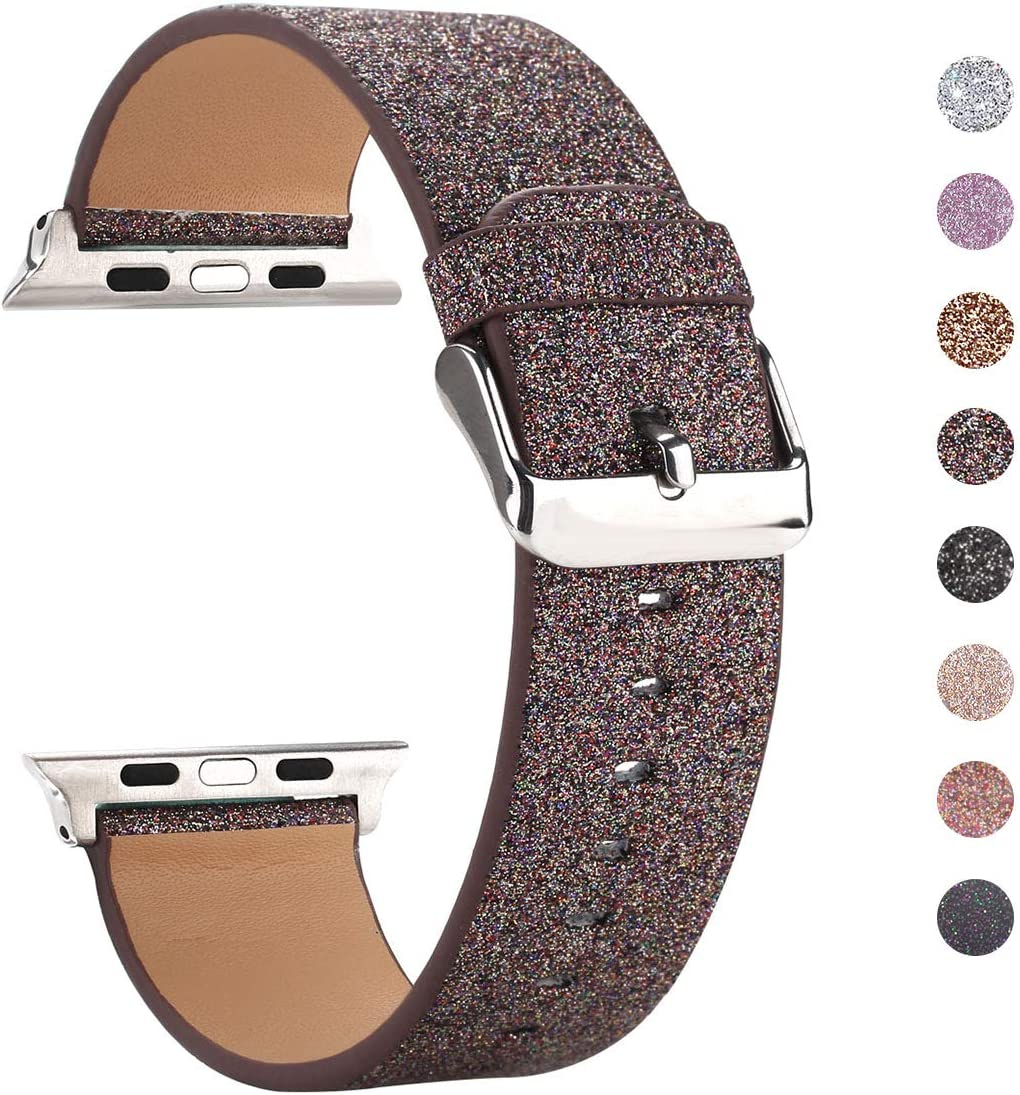 Moonooda Shiney Glitter Watch Band Replacement for Apple Watch Band 38mm 40mm 42mm 44mm Cute Bling Women Smartwatch Strap Compatible with iWatch Series SE 6 5 4 3 2 1,Coffee