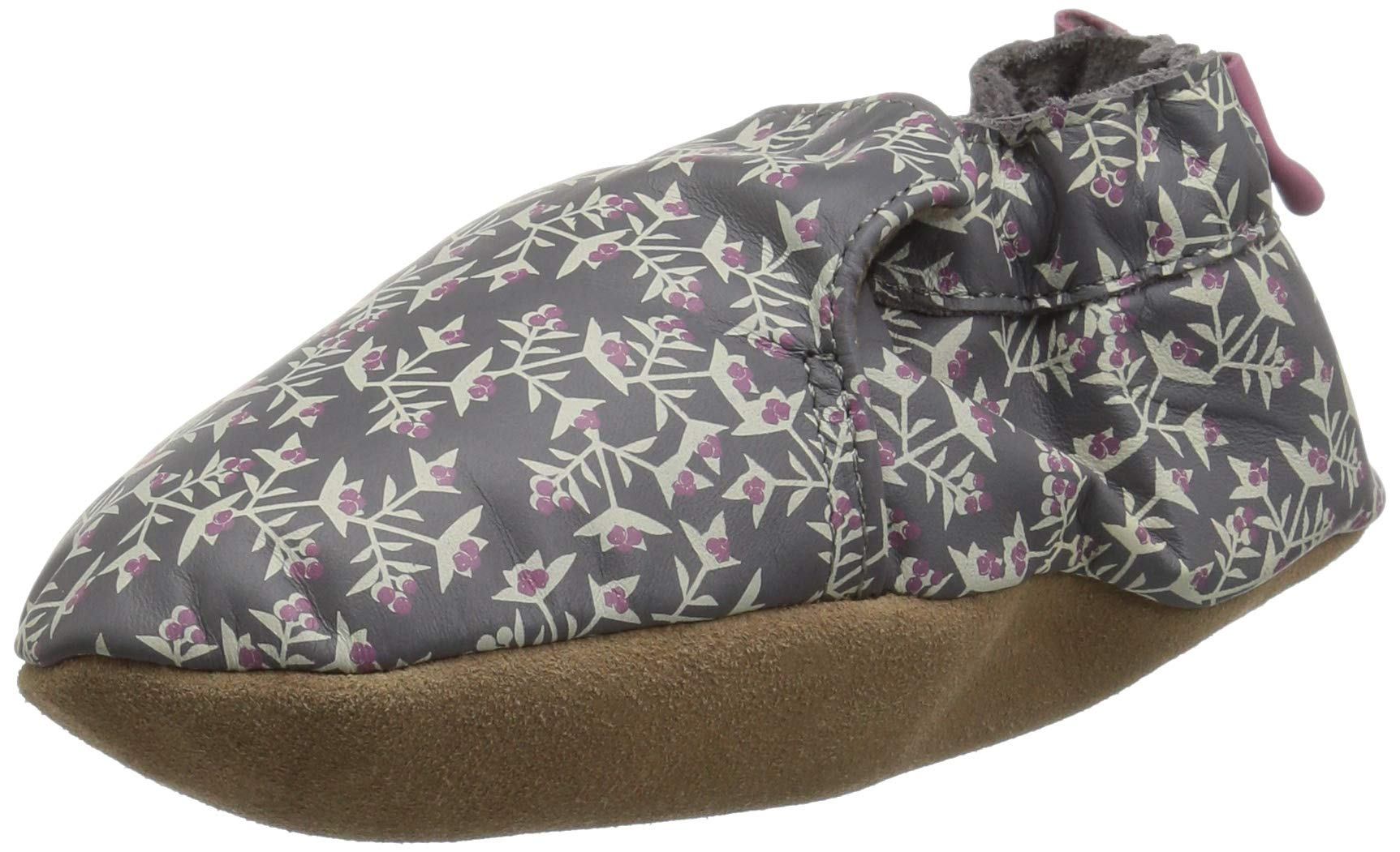 Robeez Girls' Soft Soles Bow Back Crib Shoe, Berry Beautiful Grey, 12-18 Months M US Infant