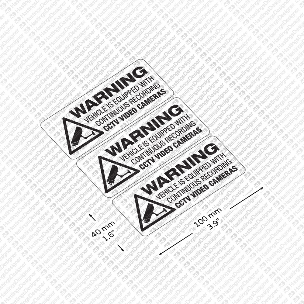 HastingsDesigner 3x WARNING RECORDING CCTV ON BOARD Dashcam Security Car,Van,Window Decal Sticker