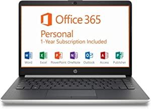 "HP 14"" HD Intel N4000 2.6GHz 4GB RAM 64GB eMMC Webcam Windows 10 Laptop + 1 Year Microsoft Office"