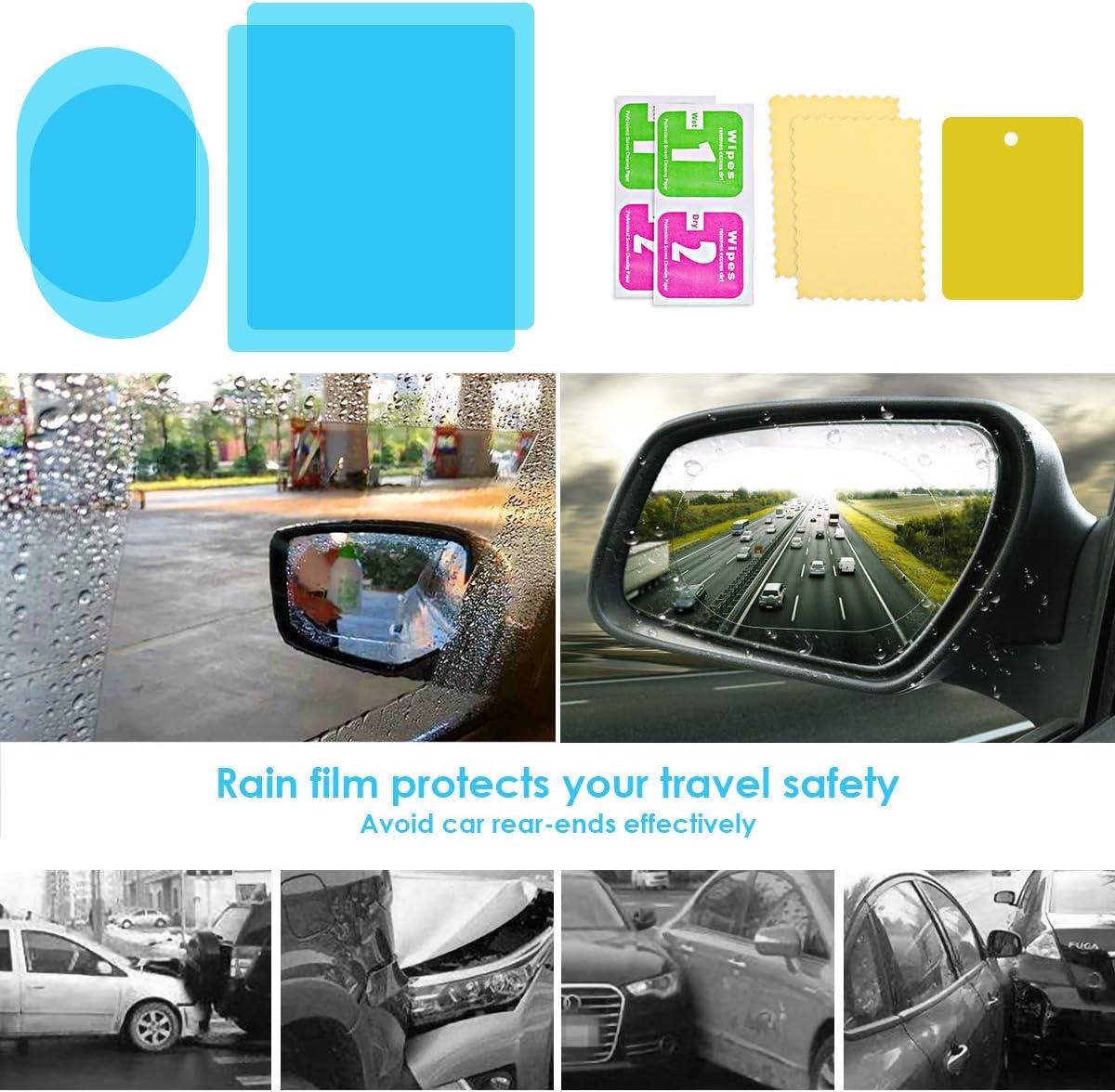 SANON Film de Miroir de Voiture 4 Pi/èces Film Anti-Bu/ée R/étroviseur /Étanche /à La Pluie Miroir dangle Mort Autocollant de Vue Arri/ère de Protection pour Voitures Camions Van Motos