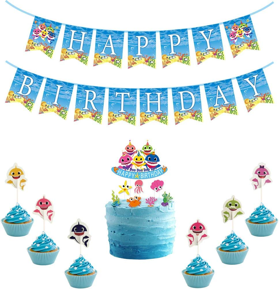 FUNWING Shark Baby Cupcake Toppers Party Cake Toppers and Happy Birthday Banner (3 in 1), The Shark Baby Happy Birthday Party Supplies for Shark Theme Birthday Party Decoration