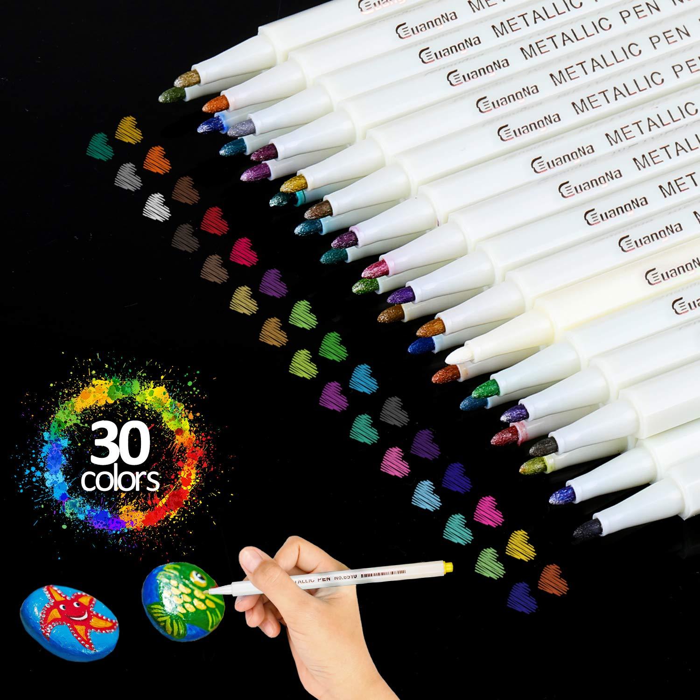 30 Colori Penne Metallici Marcatori Ideali per DIY Carte,Album Foto,libri per La Colorazione Adulti Usa su Vetro Metallo Plastica Ceramica Pietra Legno Pennarelli Metallici Metallic Marker Penne