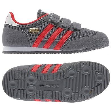 80815c4e5e7d adidas Kids Dragon Comfort Velcro Trainers G95073 Grey Red (UK 2.5 ...