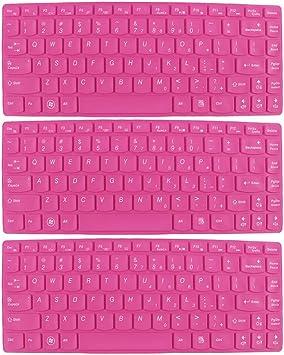 3 PC fucsia de la piel de silicona teclado portátil cubierta ...