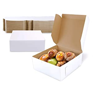 [25 Pack] Pastry Boxes - 6 x 6 x 3 Inches White Bakery Box for Cookies, Compostable Kraft Paper Cardboard for Baked Goods Packaging, Cake, Food Treat, Donut, Cupcake, Candy, Bread, Bridesmaid Gift Box