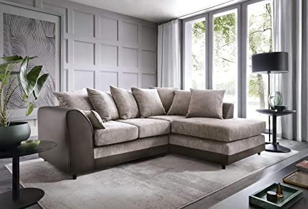 Abakus Direct Dylan Byron Corner Group Sofa Brown And Beige Right Or Left Corner Right Amazon Co Uk Kitchen Home