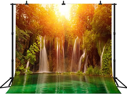 8x10 FT Photo Backdrops,Magical Lake Sunset with The Mirroring Crystal Water and Horizon Over Forest Boho Background for Baby Shower Birthday Wedding Bridal Shower Party Decoration Photo Studio