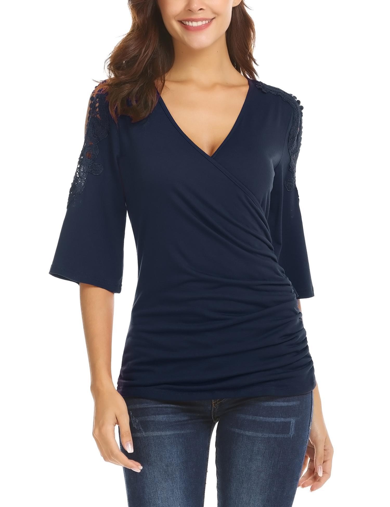 Gfones Women's Sexy Deep V Neck Shirts Cross Wrap Front Surplice Tops S