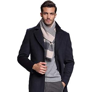 RIONA メンズ ウール マフラー 秋 冬 大判 ストライプ おしゃれ 暖かい 羊毛 マフラー ギフト用の箱 包装 グレー